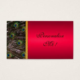 Cartes De Visite Jeunes mariés élégants à la mode rouges de paon de