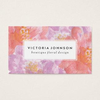 Cartes De Visite Jolies fleurs d'aquarelle des pivoines  