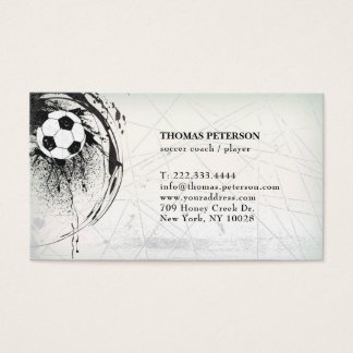 Cartes De Visite La boule du football d'entraîneur de footballeur a