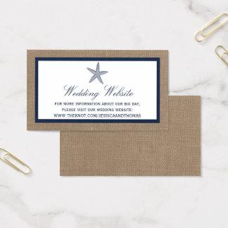 Cartes De Visite La collection de mariage de plage de toile de jute