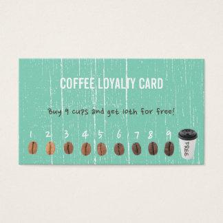 Cartes De Visite La fidélité de café carde le bois vert vintage