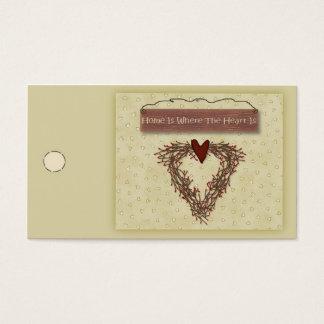 Cartes De Visite La maison est où le coeur est étiquette de coup