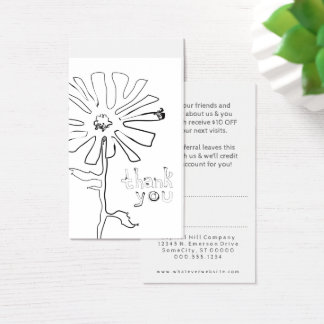 Cartes De Visite la référence vous remercient fleur de gribouillis
