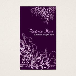 Cartes De Visite La rétro fleur élégante de lavande tourbillonne 3