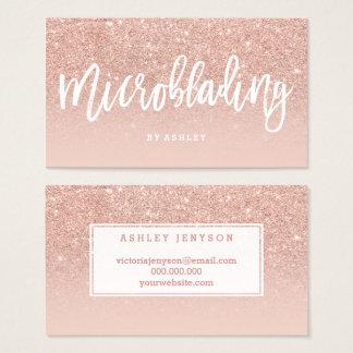 Cartes De Visite La typographie élégante de Microblading rougissent