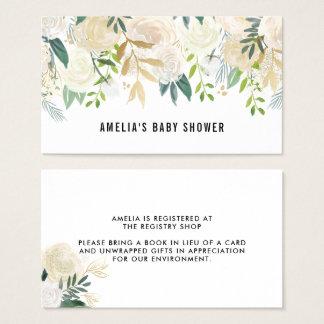 Cartes De Visite L'aquarelle fleurit l'enregistrement de baby