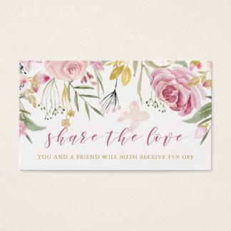 Cartes De Visite L'aquarelle fleurit rose de | et référence florale