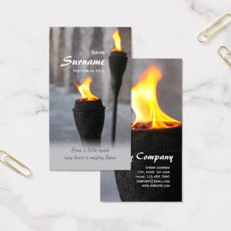 Cartes De Visite Le Burning du feu incendie d'une peu d'étincelle