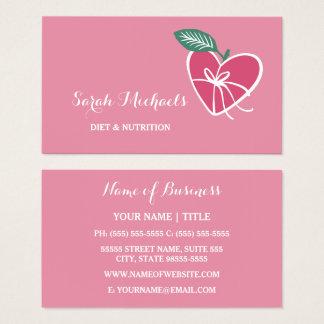 Cartes De Visite Le coeur rose Girly Apple avec l'arc suivent un