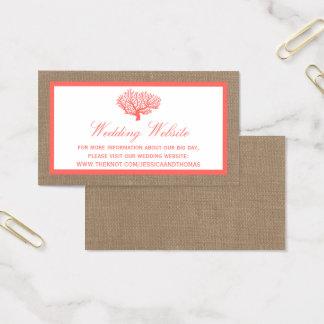 Cartes De Visite Le corail sur la collection de mariage de plage de