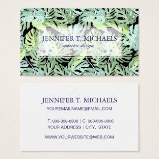 Cartes De Visite Le motif floral | de jungle ajoutent votre nom