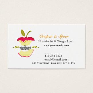 Cartes De Visite Le nutritionniste Apple de diététicien conçoivent