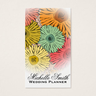 Cartes De Visite Le pastel Girly fleurit le wedding planner de