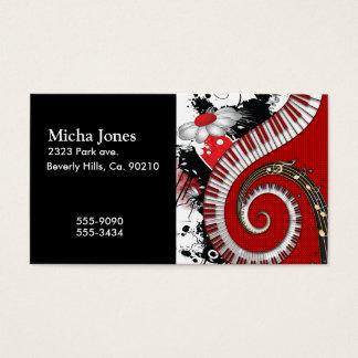 Cartes De Visite Le piano verrouille des remous floraux grunges de