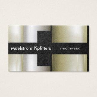 Cartes De Visite Le plombier de Pipefitter, tuyaux 3D métalliques