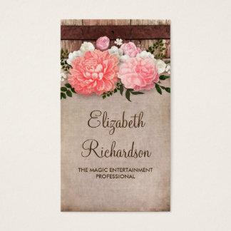 Cartes De Visite Le rose fleurit le bois de la grange | et la toile