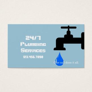 Cartes De Visite L'eau bleue moderne de robinet de plombier de