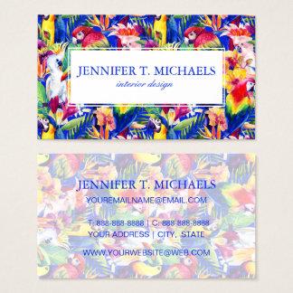 Cartes De Visite Les perroquets d'aquarelle | ajoutent votre nom
