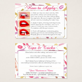 Cartes De Visite Les rouges à lèvres d'aquarelle et d'or appliquent