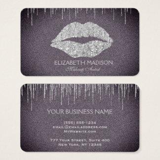 Cartes De Visite Lèvres de scintillement d'argent de maquilleur
