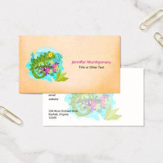 Cartes De Visite Lézard tropical avec des fleurs