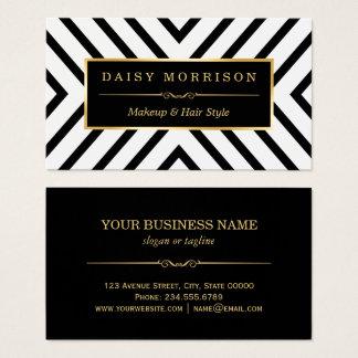 Cartes De Visite Ligne blanche motif de noir d'or de beauté de mode
