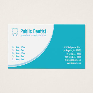 Cartes De Visite Logo bleu moderne de dent de dentiste de soins