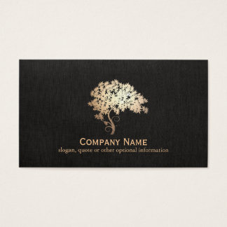 Cartes De Visite Logo holistique et naturel d'arbre de zen d'or de