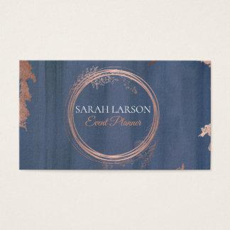 Cartes De Visite Logo rose de cercle d'or d'aquarelle moderne
