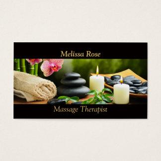 Cartes De Visite L'orchidée en bambou de massage lapide la bougie