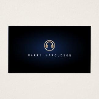 Cartes De Visite Lueur bleue d'or de jockey de disque de musique