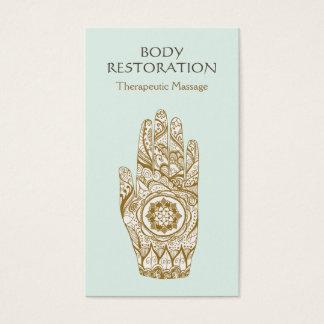 Cartes De Visite Main 2 de tatouage de Lotus de henné de logo de
