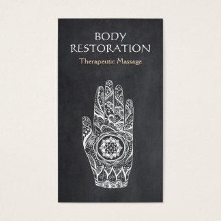 Cartes De Visite Main de tatouage de Lotus de henné de thérapeute