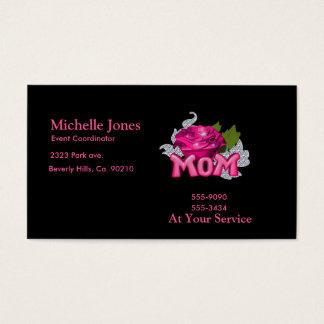 Cartes De Visite Maman et diamant rose de tatouage de rose