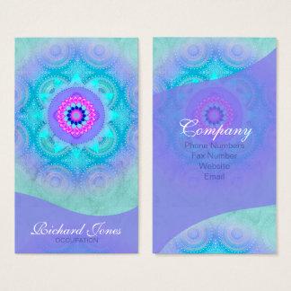 Cartes De Visite Mandala ID129 de turquoise de fleur de Lotus