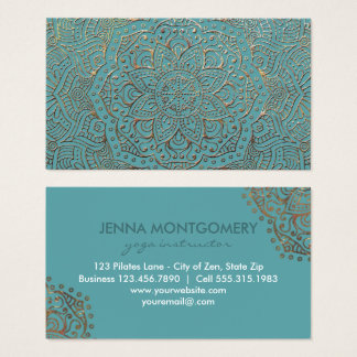 Cartes De Visite Mandala turquoise élégant d'or de Boho |