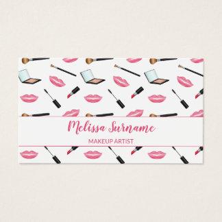 Cartes De Visite Maquillage avec le maquilleur rose de lèvres