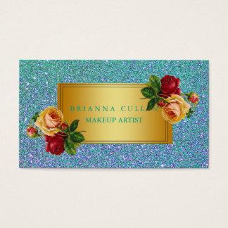 Cartes De Visite Maquilleur Girly de scintillement bleu turquoise