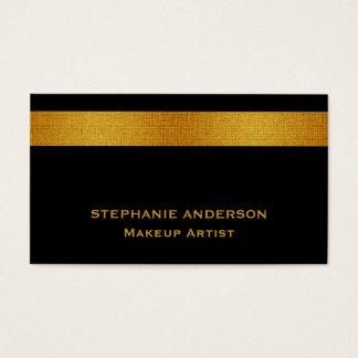 Cartes De Visite Maquilleur rayé d'or noir audacieux et élégant