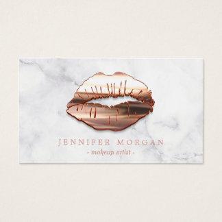 Cartes De Visite Maquilleur rose de lèvres de l'or 3D de marbre à
