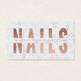 Cartes De Visite Marbre rose de typographie d'or coupé par clous