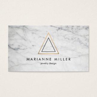 Cartes De Visite Marbre rose énervé de blanc de logo de triangle