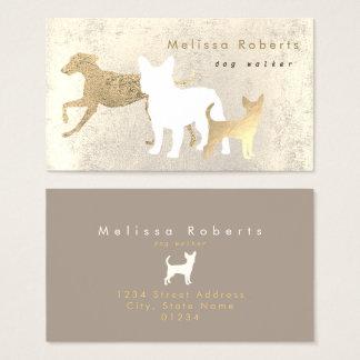 Cartes De Visite marcheur élégant de chien de silhouettes de chiens