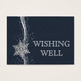 Cartes De Visite Mariage argenté bleu d'hiver de flocons de neige