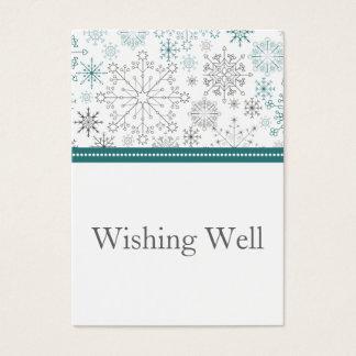 Cartes De Visite Mariage blanc turquoise d'hiver de flocons de