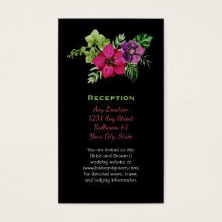 Cartes De Visite Mariage floral vert pourpre de roses indien