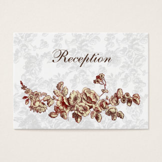 Cartes De Visite Mariage floral vintage rouge en ivoire élégant et