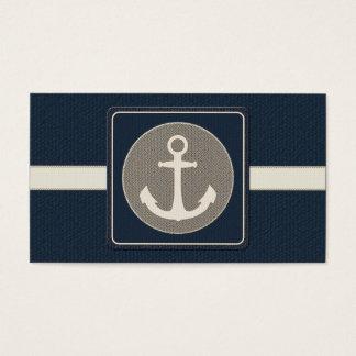 Cartes De Visite Mariage nautique de l'ancre du bateau bleu de