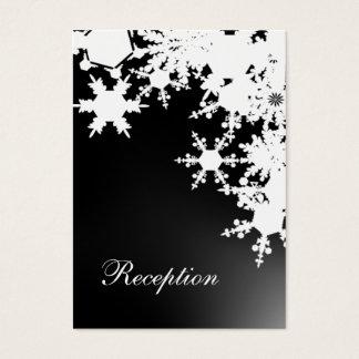 Cartes De Visite Mariage noir d'hiver de flocons de neige