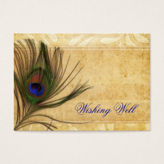 Cartes De Visite Mariage rustique de plume de paon souhaitant bien
